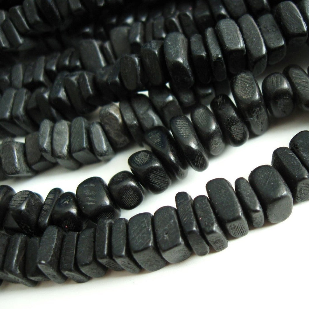 Black Wood CocoNut Shell Beads - Square cut beads 6mm - Half strand