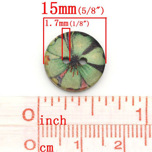 6 Coconut Shell Buttons 15mm - Green Hawaii Flower