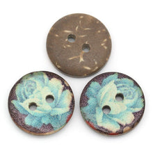 Load image into Gallery viewer, 6 Coconut Shell Buttons 15mm - Blue Rose Pattern