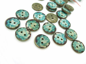 6 Coconut Shell Buttons 15mm - Blue Rose Pattern