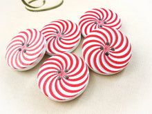 Load image into Gallery viewer, 5 Candy Cane Wooden Buttons - Red and white sewing buttons 30mm