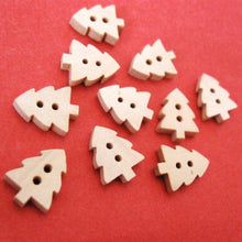 Load image into Gallery viewer, 10 Christmas tree Wooden Buttons - craft buttons 14x12mm