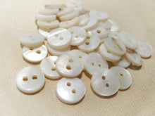 Load image into Gallery viewer, Mother of Pearl Shell Buttons 10mm - set of 10 eco friendly natural buttons