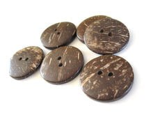 Load image into Gallery viewer, 6 Brown Coconut Big Buttons 30mm - Natural Wood and Eco Friendly