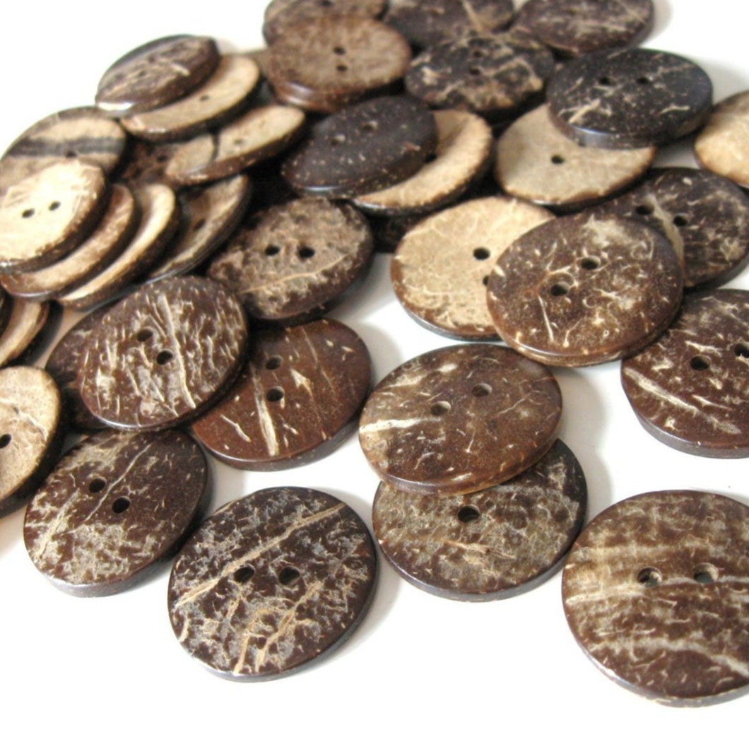 Brown Coconut Shell Buttons 25mm - Natural and Eco Friendly