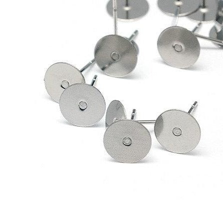 Earring stud hypoallergenic stainless steel 12mm x 8mm post earrings