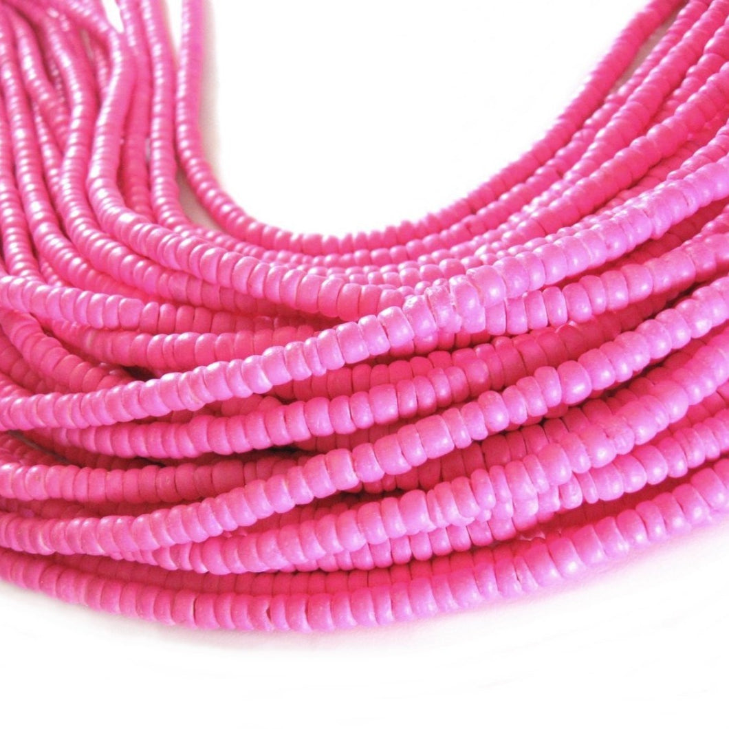 Coconut bead 150 pink wood Beads - Coconut Rondelle Disk Beads 4-5mm