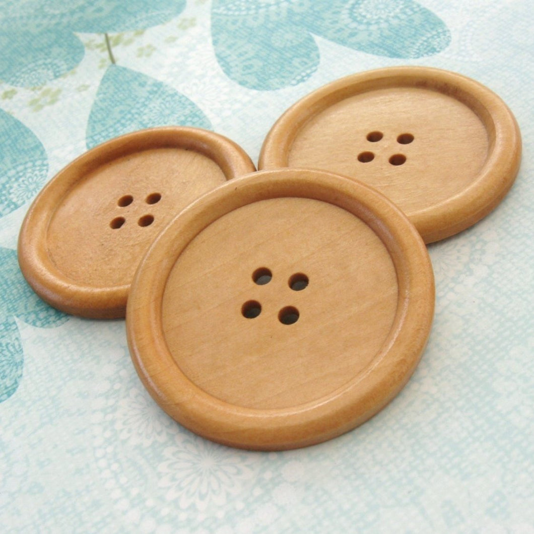 Natural large wood button - 3 wooden buttons 50mm (2