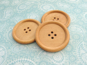 "Natural large wood button - 3 wooden buttons 50mm (2"")"