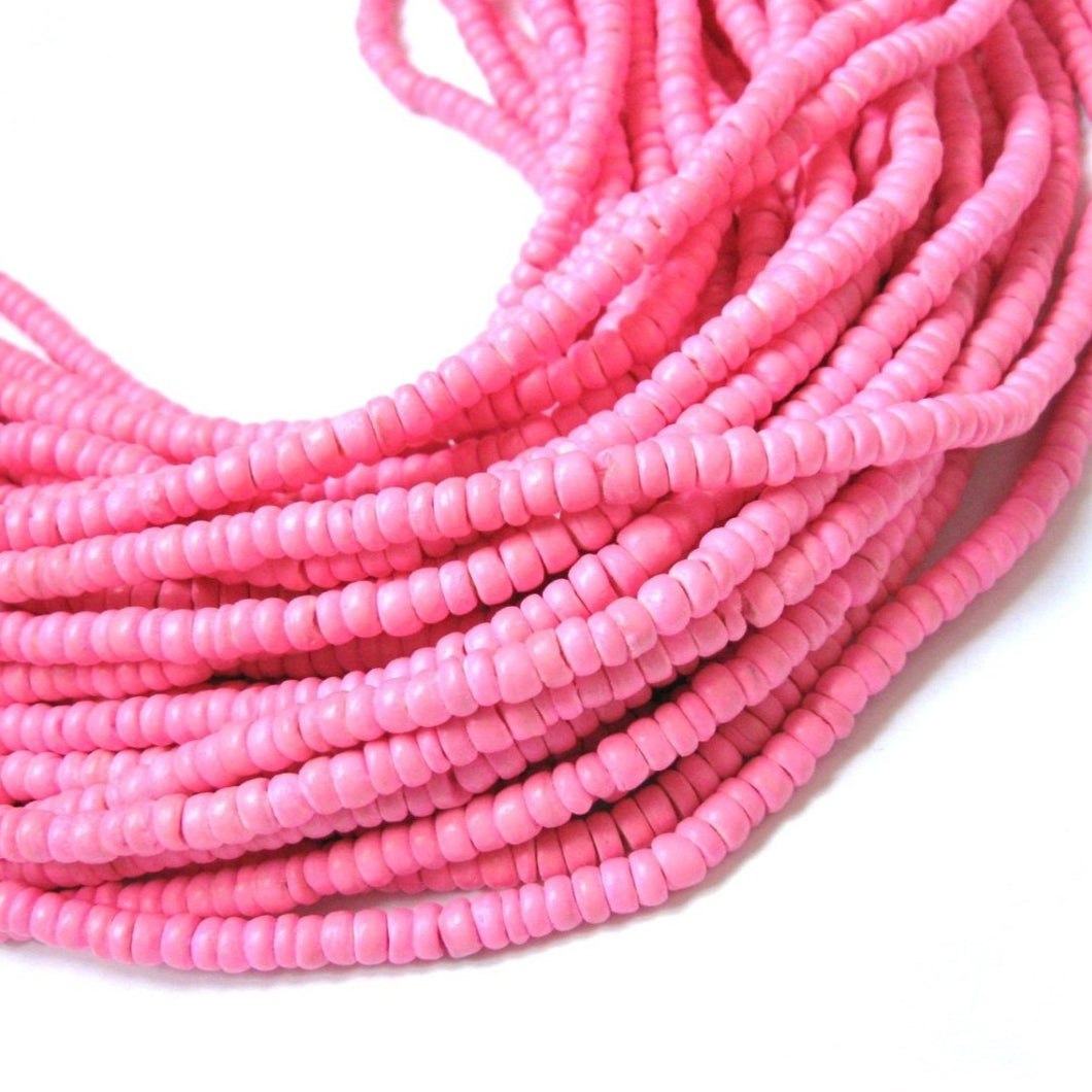 Coconut bead 150 soft pink wood Beads - Coconut Rondelle Disk Beads 4-5mm
