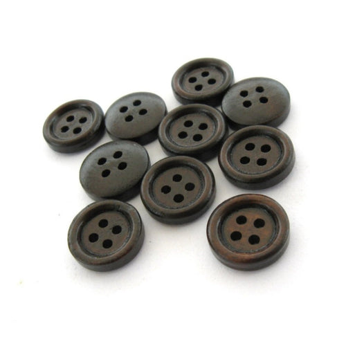 Small button - Dark Brown 4 Holes Wooden Sewing Buttons 13mm - set of 10