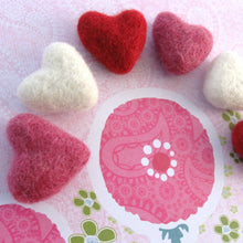Load image into Gallery viewer, Felt Pink, Red and Ivory Heart - 6 Pure Wool Beads 30mm