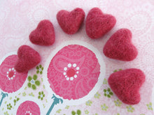 Load image into Gallery viewer, Felt Rasberry Pink Hearts - 6 Pure Wool Beads 30mm -