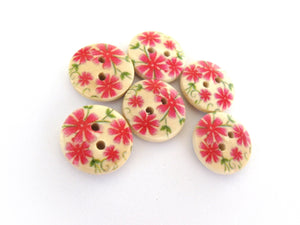 Small wooden buttons - Pink flowers pattern wooden shirt buttons 15mm - set of 6