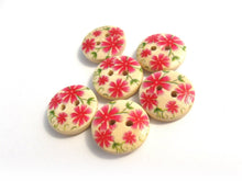Load image into Gallery viewer, Small wooden buttons - Pink flowers pattern wooden shirt buttons 15mm - set of 6