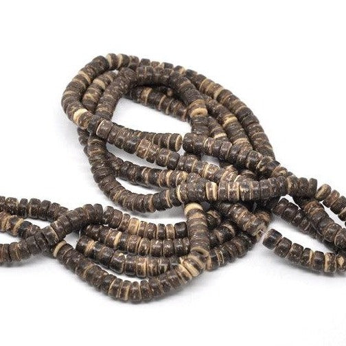 Brown coconut beads - eco friendly rondelle beads 8mm - 100pcs