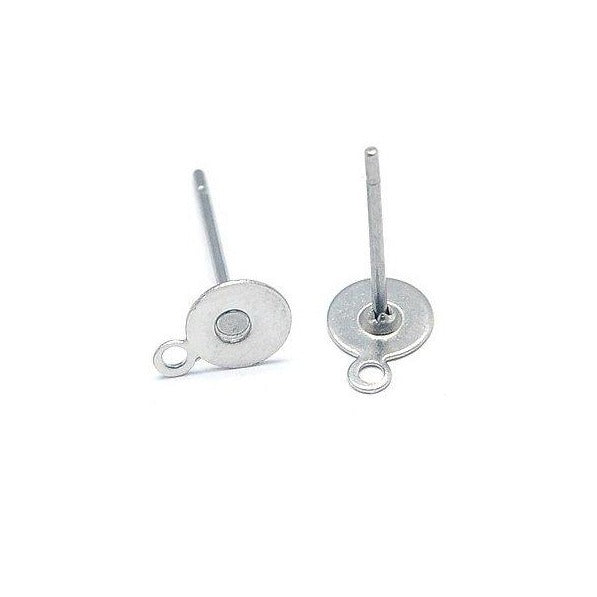 Earstuds 10 pairs Stainless Steel Earring Studs with Loop - 5 or 8mm Pad - Hypoallergenic  (JF588)