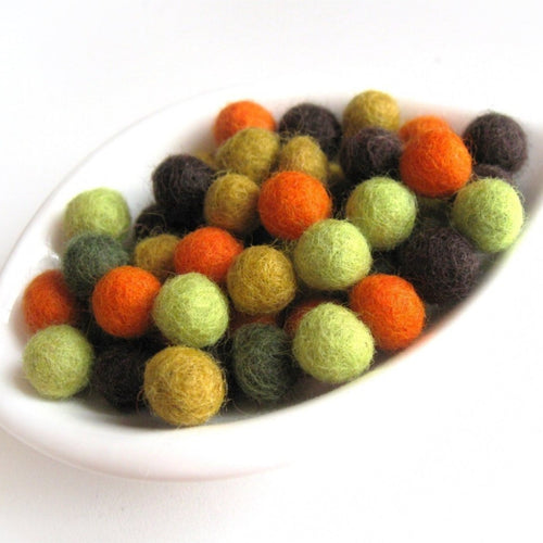 Felt Balls Fall Color Mix - 50 Pure Wool Beads 10mm