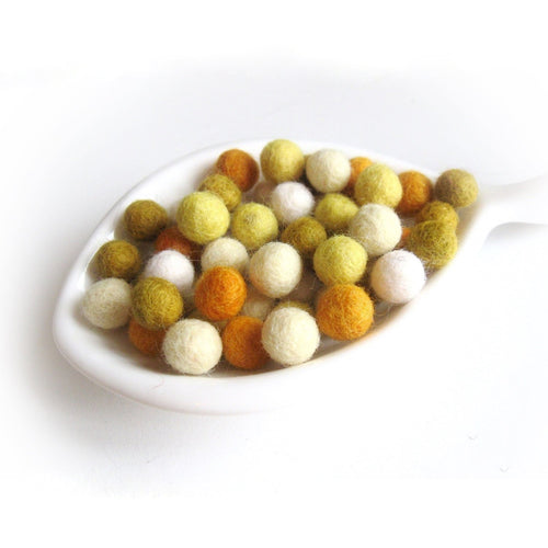 Felt Balls Sunflower Color Mix - 50 Pure Wool Beads 10mm