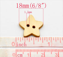 Load image into Gallery viewer, Star button - 10 Wooden craft buttons 18x17mm