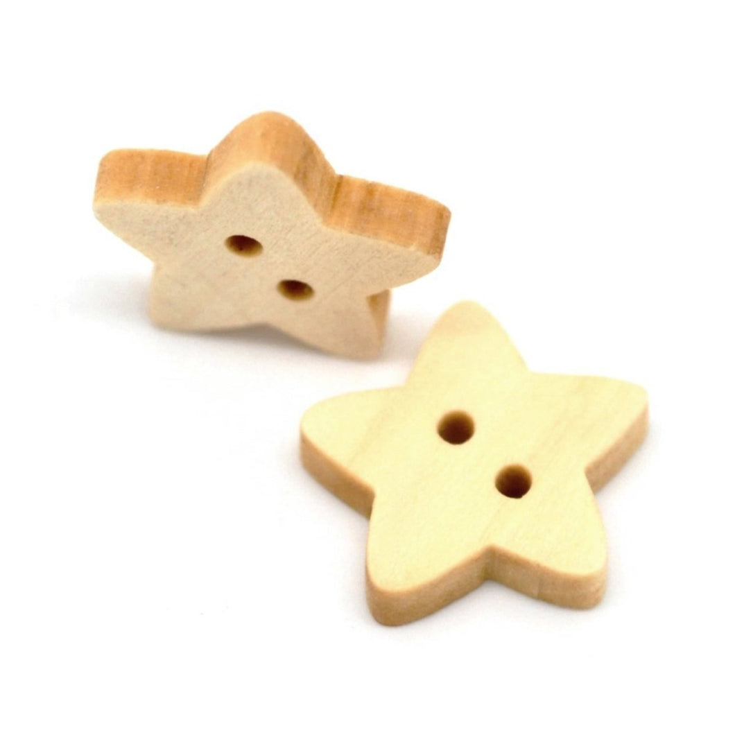 Star button - 10 Wooden craft buttons 18x17mm