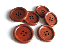 Load image into Gallery viewer, Maroon brown Wooden Sewing Buttons 30mm - set of 6 natural wood button