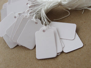 Jewelry price tags - Blank white rectangular tags - Set of 100