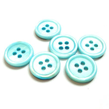Load image into Gallery viewer, Mother of Pearl Shell Buttons 15mm - set of 6 eco friendly aqua buttons