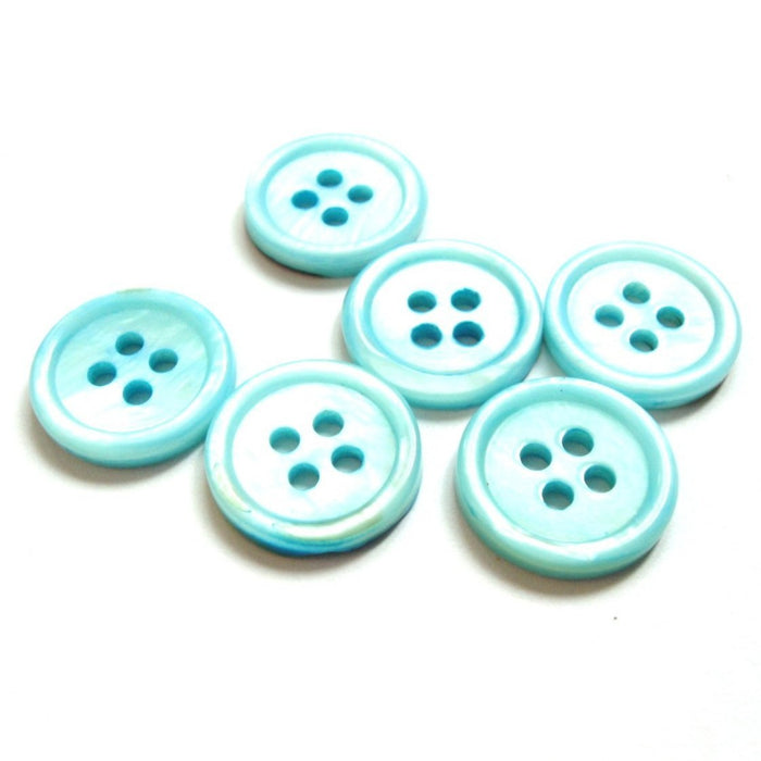 Mother of Pearl Shell Buttons 15mm - set of 6 eco friendly aqua buttons