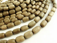 Load image into Gallery viewer, 12 Large Taupe Wooden Beads - Oval Greywood Beads 10x15mm