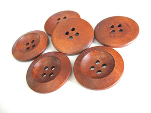Red brown Wooden Sewing Buttons 30mm - set of 6 natural wood button