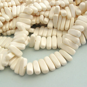 32 White bone stick beads 15mm - eco friendly and natural bone beads