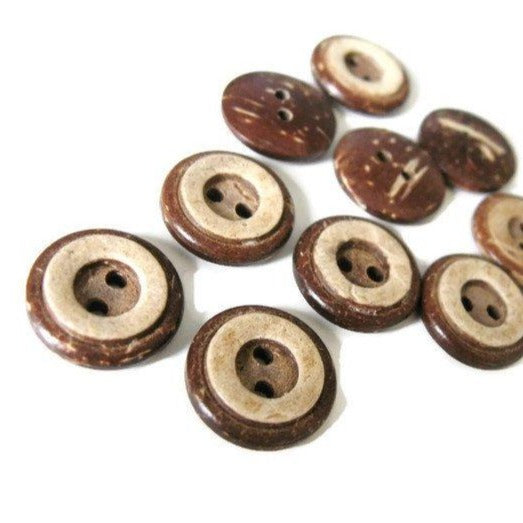10 Brown Coconut Shell Buttons 13 or 15mm - Rustic Circle