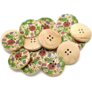 Painted wood button romantic nature flower pattern 6 x 30mm wood sewing buttons
