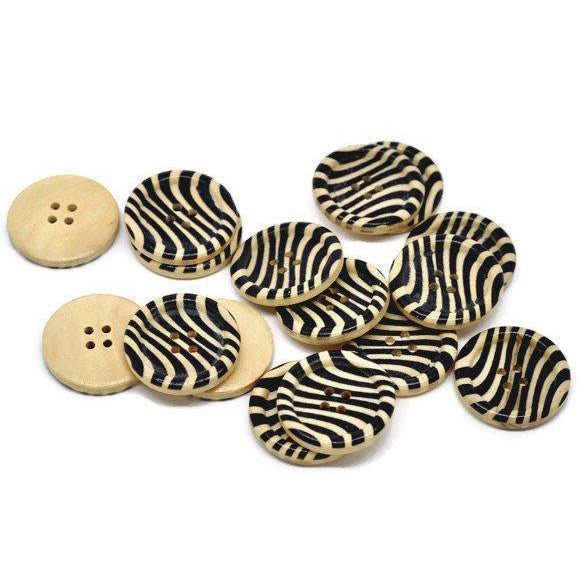 Zebra Pattern Wooden Sewing Buttons 30mm - Natural and Black wood button set of 6