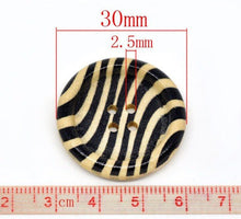 Load image into Gallery viewer, Zebra Pattern Wooden Sewing Buttons 30mm - Natural and Black wood button set of 6