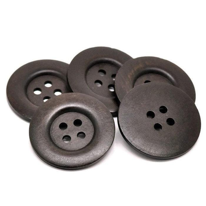 Extra large button - 3 dark brown wooden buttons 50mm (2
