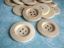 Load image into Gallery viewer, Unfinished wood buttons set of 4 big button 40mm