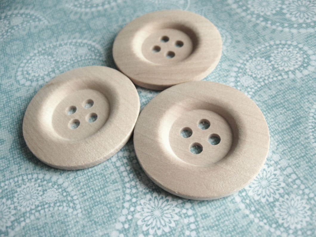 Unfinished wood buttons set of 4 big button 40mm