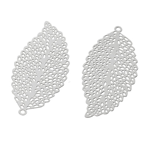 Filigree leaf pendant stainless steel hypoallergenic charms 2pcs