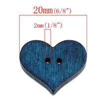 Load image into Gallery viewer, Hearts shapes 25 Mixed Colors Buttons - Wood sewing buttons 20mm