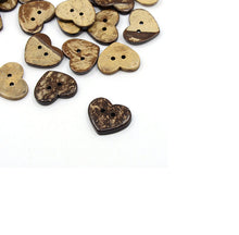 Load image into Gallery viewer, 10 Brown Coconut Shell Buttons 20mm -  Heart shape