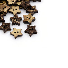 Load image into Gallery viewer, 10 Brown Coconut Shell Buttons 15mm -  Star shape