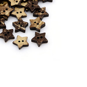 10 Brown Coconut Shell Buttons 15mm -  Star shape