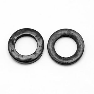 Coconut Beads Donut, Rondelle, No Hole, Black, 20mm in diameter, Set of 10