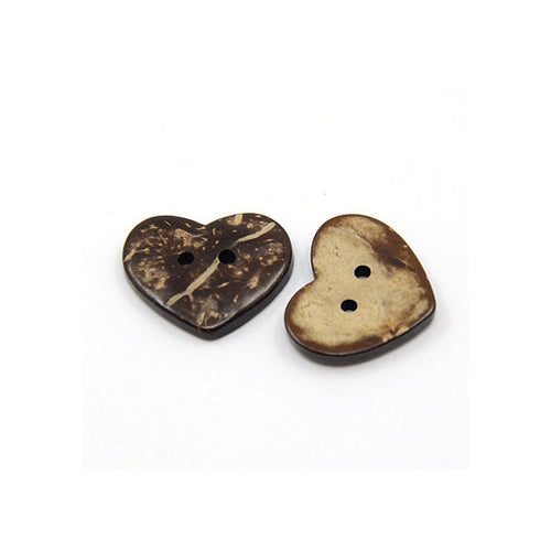 10 Brown Coconut Shell Buttons 20mm -  Heart shape
