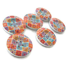 Load image into Gallery viewer, 6 painted wooden button - flower patchwork pattern 23mm