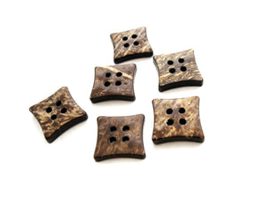 6 Brown Coconut Shell Buttons 14mm -  Square shape