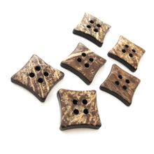 Load image into Gallery viewer, 6 Brown Coconut Shell Buttons 14mm -  Square shape