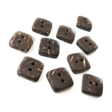 Load image into Gallery viewer, 10 Brown Coconut Shell Buttons 9mm -  Tiny square shape